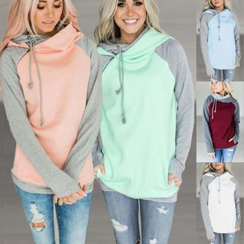 Women Long Sleeve Hoodie Sweatshirt Cowl Neck Sweater Hooded Jumper Pullover Top