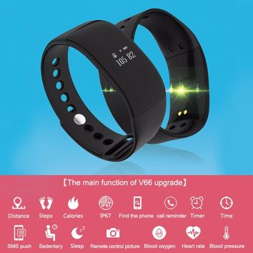 V66 Bluetooth Smart Bracelet Watch Wristband Pedometer Calorie Sleep Monitor Message Call Reminder Support SMS push