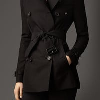 Short Cotton Gabardine Trench Coat