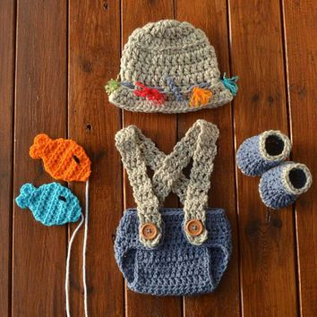 Crochet Fisherman Outfit Newborn Baby Boy Photo Outfit