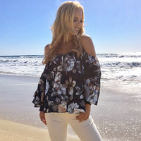 First Things First Cold Shoulder Floral Blouse