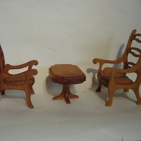 Natural Wood Miniature Table & Chairs Set