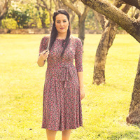 Multi colored floral dress – Holiday dress - Modest midi dress for women