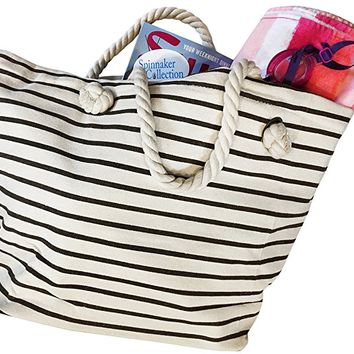 Canvas Beach Bag with Chocolate Brown Stripes, Zipper top and Liner. - Spinnaker Collection