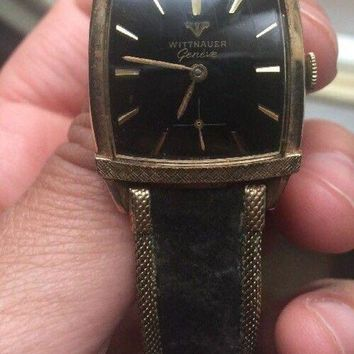 ONETOW Vintage Longines Wittnauer Geneve 10k RGP Gold Black Watch