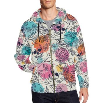 Skull & Roses Design 2 Men's All Over Print Full Zip Hoodie