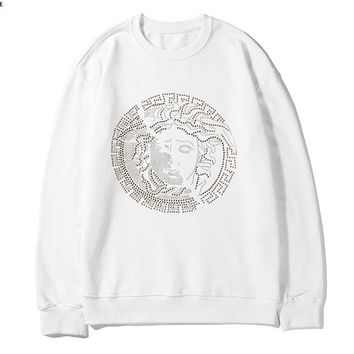 Versace fashion hot selling couples hot diamond medusa figure crew neck hoodie White