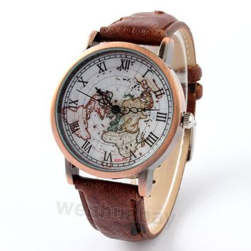 4 colors 1 piece High Quality FeiFan Brand Vintage Leather Strap Watch World Map Watch Unisex Quartz watches