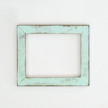 Distressed mint frame - 8x10 hand-painted, lightly distressed picture frame, shabby chic, beach style, vintage-look frame, gift idea