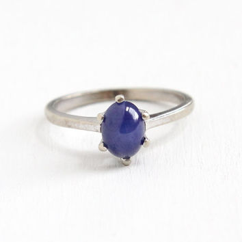 Vintage 10k White Gold Created Sapphire Star Ring - 1950s Size 7 1/2 Blue Synthetic Blue Oval Cabochon Fine Jewelry