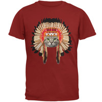 Thanksgiving Funny Cat Native American Adult T-Shirt