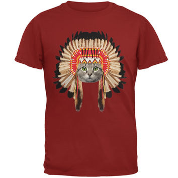 Thanksgiving Funny Cat Native American Cardinal Red Adult T-Shirt