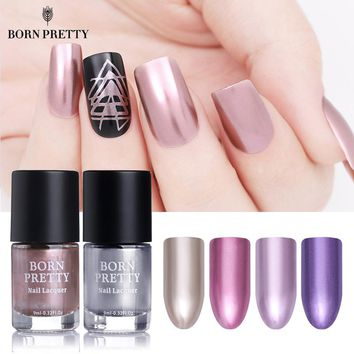 BORN PRETTY Mirror Effect Metallic Nail Polish 9ml Rose Gold Silver Purple Chrome Varnish Manicure Nail Art Lacquer