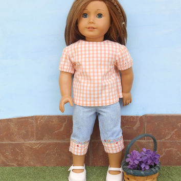 American Girl Doll Clothes, Blue Jean Capris with Orange Gingham Top, Skinny Capris, Summer Doll Clothes, Fits 18 Inch Dolls, Upcycled