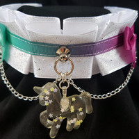 Sparkly Rainbow Unicorn Pleated Kitten/Pet Play DDLG BDSM Collar