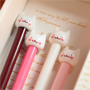 New Cute Cat Kawaii Korea Novelty Gel pens Stationery Creative Gift Stationery Toys Free shipping 503