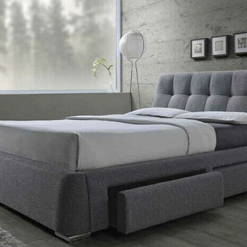 300523Q Fenbrook collection contemporary style grey fabric upholstered queen size bed with lower drawers