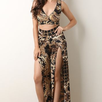 Filigree Crop Top With Slit Palazzo Pants Set