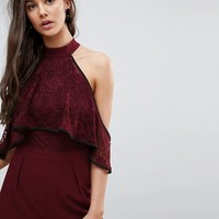ASOS High Neck Lace Top Jumpsuit with Contrast Binding at asos.com