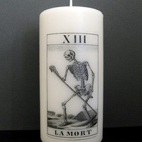 Halloween Candle - Death Card - Tarot - White