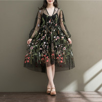 Women Sheer Embroidery Dress Long Sleeve Flower Embroidered See Through Organza Floral Dress Long Sleeve V Neck Mesh Dress