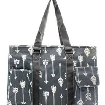 Utility Tote Multi-Pocket - Arrow Print - 2 Color Choices