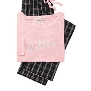Victoria's Secret. Lounge Pajama Gift Set Pink & Black Flannel Plaid -XS