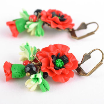 Polymer clay flower earrings Poppies