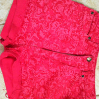 Pink floral high waisted shorts