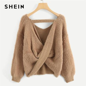 SHEIN Camel Office Lady Sexy Twist Back Fuzzy V Neck Elegant Solid Sweater 2018 Autumn Highstreet Women Pullovers Sweaters