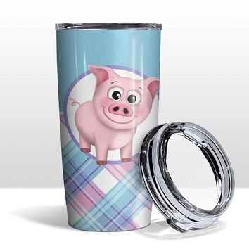 Pig Plaid Pattern Tumbler Cup - Pink Blue Purple Plaid Pattern cute Happy Pig - 20oz Insulated with Clear Lid - Hot or Cold - Made to Order