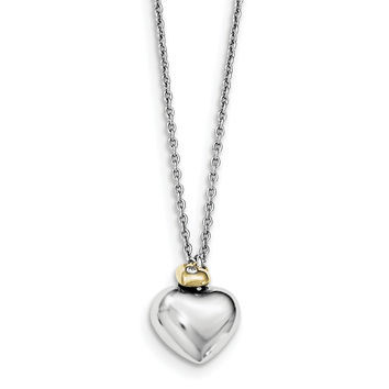SS White Ice Diamond Gold-plated Double Heart w/2IN EXT Necklace QW406