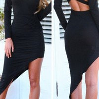 Asymmetrical Ruched Maxi Dress with Cross Back One size,