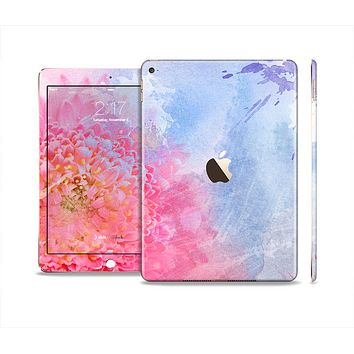 The Pink to Blue Faded Color Floral Skin Set for the Apple iPad Air 2