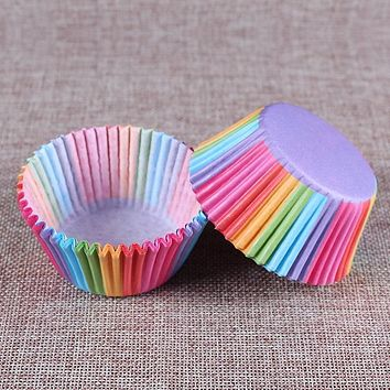 100 pcs rainbow cupcake paper liners Muffin Cases Cup Cake Baking egg tarts tray kitchen accessories Pastry decorating Tools
