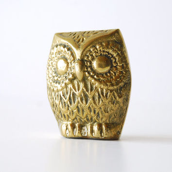 Vintage Brass Owl Figurine 2 Inches Tall