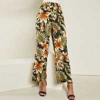 Casual Boho Floral Print Pants Women High Waist Straight Pants capris Beach Trousers Female Long Pants