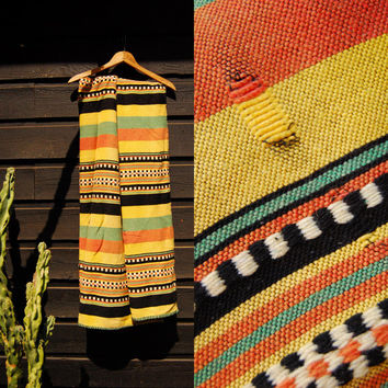 Vintage Mexican Blanket 76 X 53 Native Woven Blanket Throw, Boho Hippie Festival Blanket Shawl, Yellow Orange Green Southwestern Rug Blanket