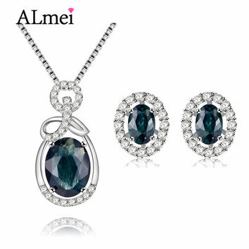 Almei Luxury Sapphire Costume Jewelry Sets Silver 925 Sterling Women Pendant Necklace Earrings for Wedding Gift with A Box CT009