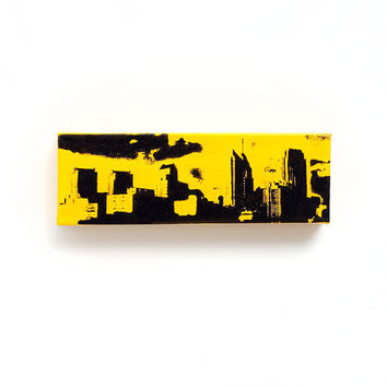 Philadelphia Skyline Canvas (Yellow with Black) Screenprint/Painting, Philadelphia Wall Art, Yellow Home Decor, Philadelphia Print, Urban