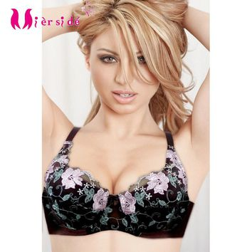 Mierside Sexy Bra Soft Cotton Padded with Lace Embroidery Women Underwear 34B 38B sexy cotton bra and lace WX14020