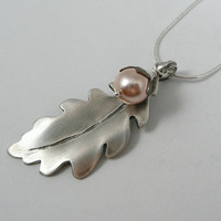Fine Silver Oak Leaf with Pearl Acorn Necklace by SweetleafSisterz