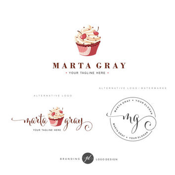 Cupcake logo, Bakery Logo design, Business Kit, Logo Set, Bakery Blog logo, Watermark, Cakery Marketing, Dessert, Cherry logo, package, 64