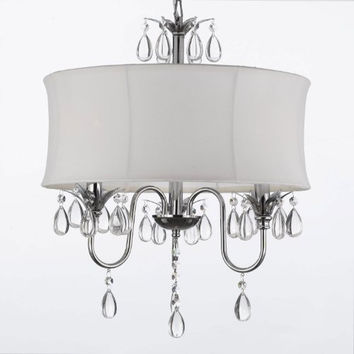 White Drum Shade Crystal Ceiling Chandelier Pendant Light Fixture Lighting Lamp - A7-White/834/3