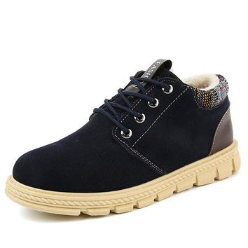 Men Brogue Plush Lining Lace Up Ankle Boots