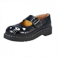 T.U.K. Shoes Black Leather Kitty Anarchic Mary Janes