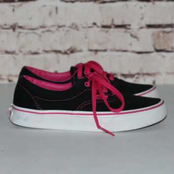 Vans Classic Sneakers Black and Hot Pink 90s 80s Punk Hipster Skater