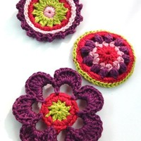Crochet Applique Embellishments Buttons ap12 Spring time