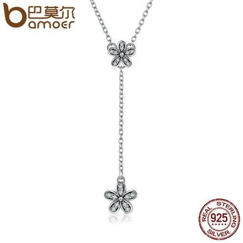 Authentic 925 Sterling Silver Dazzling Daisy Long Pendant Necklaces for Women Sterling Silver Jewelry Collares PSN019