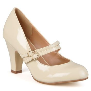Journee Collection Women's 'WENDY-09' Patent Mary Jane Pumps | Overstock.com Shopping - The Best Deals on Heels